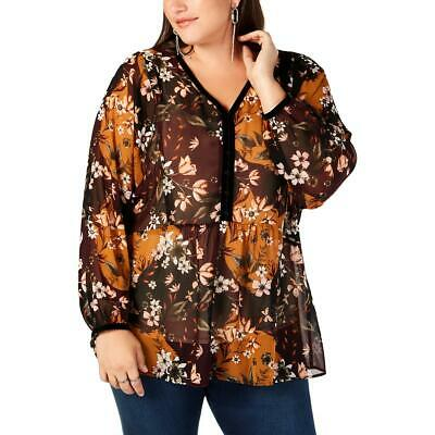 Style & Co. Womens Black Sheer Bishop Sleeves Boho Blouse Top Plus 3X BHFO 2184