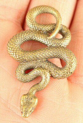 Chinese old copper hand cast snake statue figure collect pendant Netsuke