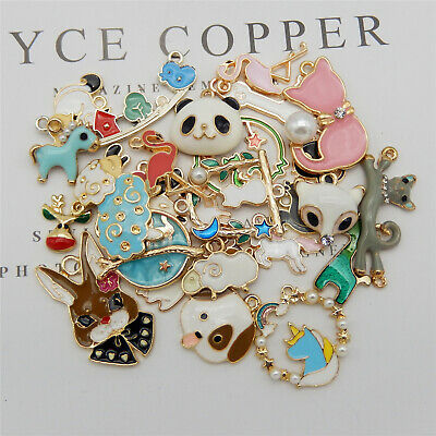 20PCS Mixed Enamel Alloy Assorted Animal Squirrel Charms Pendant DIY Findings