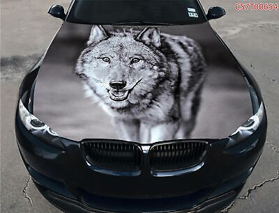 Vinyl Car Hood Wrap Full Color Graphics Decal Snarling Night Wolf Sticker