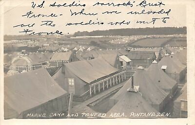 US Marine Tented Area Camp Pontanezen Brest France 1918c Real Photo postcard