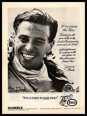 1965 Jimmy Clark Indy 500 Champ Humble Oil Put A Tiger In Your Tank Gas Print Ad