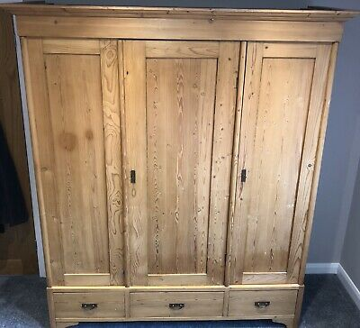 Antique Pine Three Door Knock Down Wardobe w. Drawers
