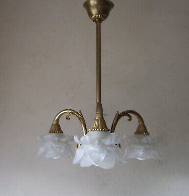 PARIS CHIC Antique French  Louis XVI 3 arm chandelier with rose petal shades