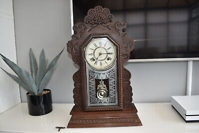 Antique ANSONIA American Gingerbread mantle Clock Vintage working signed
