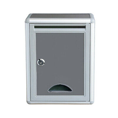 Gray Letter Box Post Mail Box Wall Mounted Suggestion Post Box Lockable W/ Keys