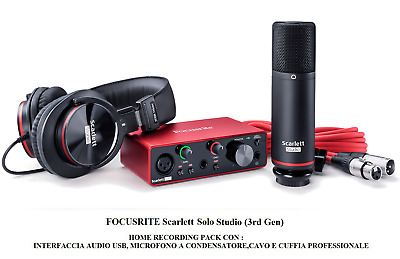 FOCUSRITE Scarlett SOLO Studio 3rd Gen INTERFACCIA AUDIO USB + MICROFONO +CUFFIA