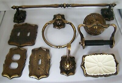 Lot 8 Vintage Amerock Carriage House Bathroom Kit Tp-Towel Ring Bar Plate Hook