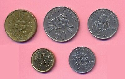 Singapore set of 5 circulation coins 1$, 50, 20, 10, 5 cents 1986 1987 1988 2010