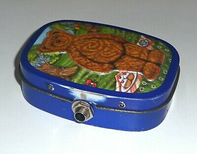 'Old Tin Stomp Box'. Hand Made From An Old Embossed Cartoon Bear Tin.