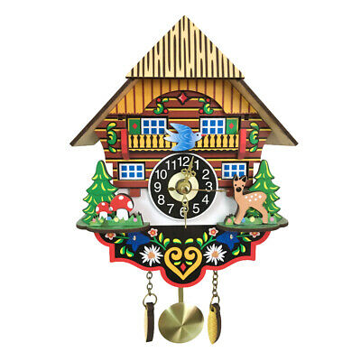 Wooden Cuckoo Wall Clock Swinging Pendulum Traditional Wood Hanging Crafts P9W7