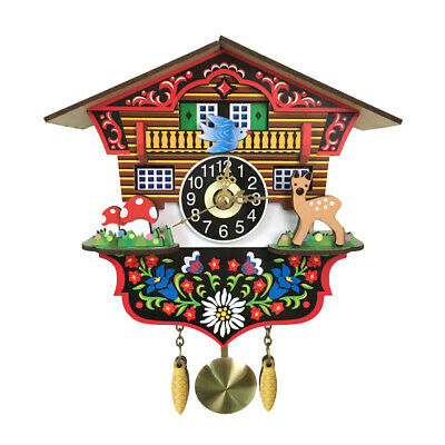Wooden Cuckoo Wall Clock Swinging Pendulum Traditional Wood Hanging Crafts W7T6