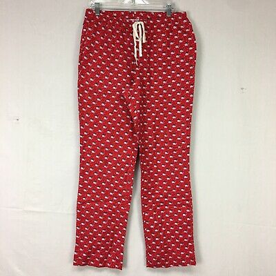NWT Vineyard Vines Red Flannel Santa Whale Print Lounge Pajama Pants Womens Sz M
