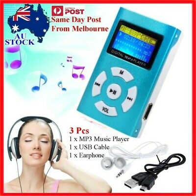 MP3 Stereo Music Player Digital LCD Screen Mini Pocket Clip Max 32GB Micro SD