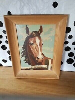 HORSE OIL PAINTING  framed Vintage nice deep Wood Frame hand painted 13 x 17.5