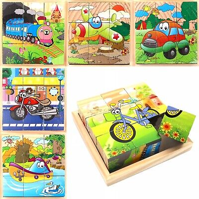 Wooden Cubes For Kids Toddlers Educational Toy Puzzle // Vehicle