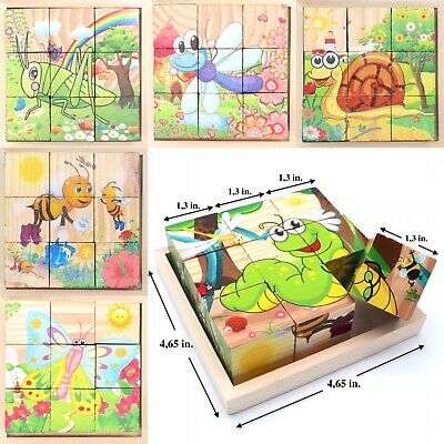 Wooden Cubes For Kids Toddlers Educational Toy Puzzle // Insects