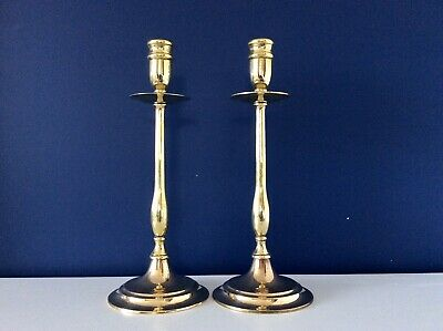 "Fine Pair Of Late 18th Century 12.5"" English Heavy Cast Brass Candlesticks C1790"