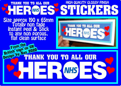 2+ Nhs Thank You Stickers For Car, Home Or Office Windows.non Fade