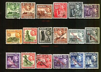Commonwealth MALTA KGV1 Pre Dicimiel Stamps Selection Used + Self Gov overprints