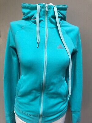 Womens/Girls Adidas Climalite Hoodie Hooded Tracksuit Top Sports Gym Jacket XS