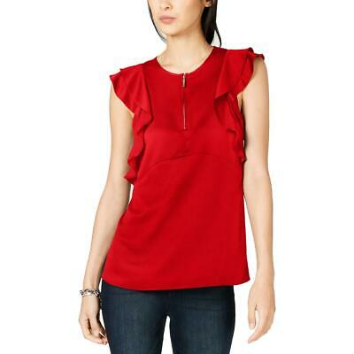 MICHAEL Michael Kors Womens Red Flounce Sleeves Shell Top Petites PS BHFO 8653