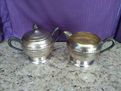 Vintage F. B. Rogers Silverplate Creamer and Sugar Bowl #1202