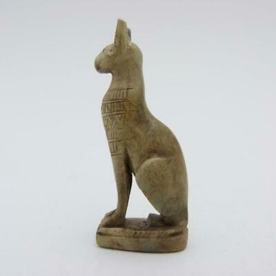 Archaic Egyptian Carved Stone Figure Of A  Bastet Cat