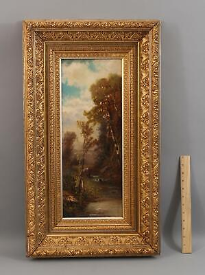 19thC Antique WORTHINGTON WHITTREDGE Hudson River Fishing Landscape Oil Painting