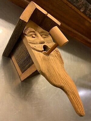 VINTAGE Wood Spirit Old Man Face rustic Hand Carved Bird House Birdhouse PIPE