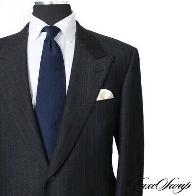 $2800 Domenico Spano Bespoke DANDY Grey Diamondplate Ultraviolet Pinstripe Suit