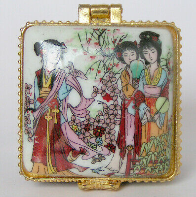 Porcelain jewelry box painted Chinese ancient girls beauty in spring & flowers