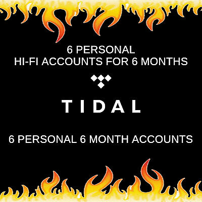 6 Tidal Hi-Fi Masters Personal Family Accounts for 6 Months