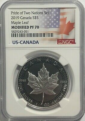 2019 $5 Silver Canadian Modified Maple Leaf Ngc Pf70 Pride Of Two Nations .9999