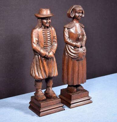 "*13"" Pair of French Antique Hand Carved Breton Chestnut Figures"