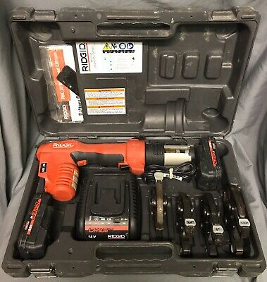 Ridgid RP200B Compact Press Tool Bundle 2 Batteries charger and 4 clamps in case