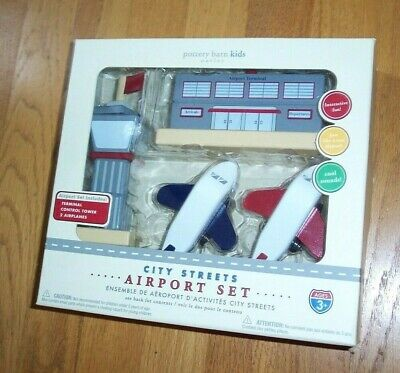 NEW Pottery Barn Kids Wooden City Streets Airport Set HTF Discontinued