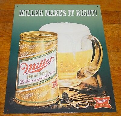 CLASSIC Miller High Life Sign Advertising Brewery Beer Bar Pub Tavern Decor NEW