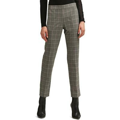 DKNY Womens Gray Plaid High Rise Wear to Work Straight Leg Pants 10 BHFO 5856