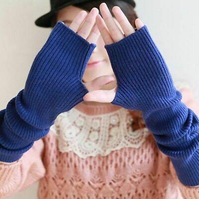 Womens Gloves Wool Mitts Winter Fine Wool Fingerless Long Thermal Arm Warmers