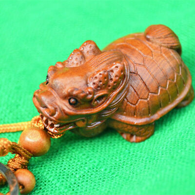 3D Wood Carving Chinese Wealth Dragon Turtle Statue Sculpture Pendant Key Chain