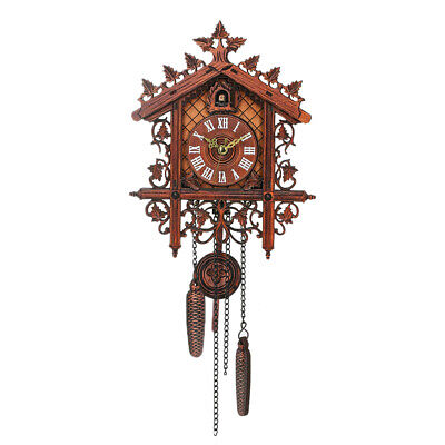 1 Pcs Retro Vintage Wood Cuckoo Wall Clock Hanging Handcraft for Living H4B9