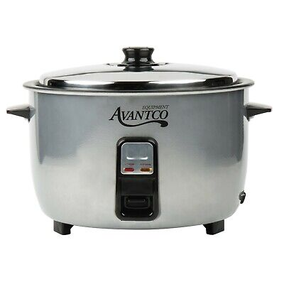 46 Cup Electric Rice Cooker Warmer Round Stainless Steel Silver 120 V 1650 W
