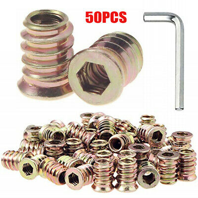 50pcs 1/4-20 Threaded Insert for Wood Furniture Insert Nuts Screw in Nuts new