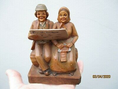 An Antique Black Forest Wooden Carving of a Seated Couple-Anri-c1900