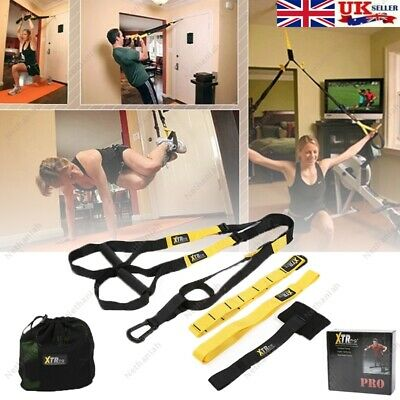 PRO XTR Suspension Trainer Straps Home Gym Fitness Resistance Band Exercise Yoga