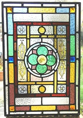 ANTIQUE STAINED GLASS PANEL REF SG435 - see my other listed panels