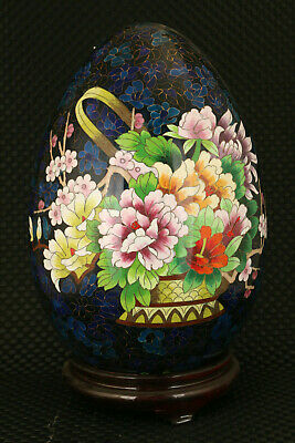 Chinese unique cloisonne flower basket egg statue collectable 富贵 健康