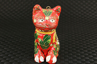 Fine chinese old cloisonne White lovely cat statue netsuke collectable pendant