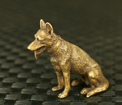chinese old bronze hand cast lovely dog statue Hand pieces collectable